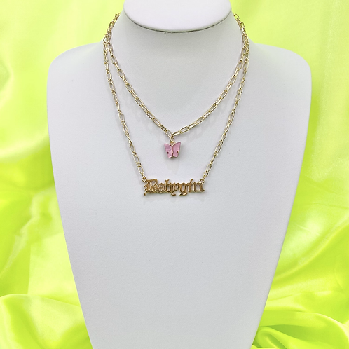 Pink Butterfly Babygirl Layered Necklace