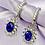 Thumbnail: Blue Rhinestone Gem Hoop Earrings