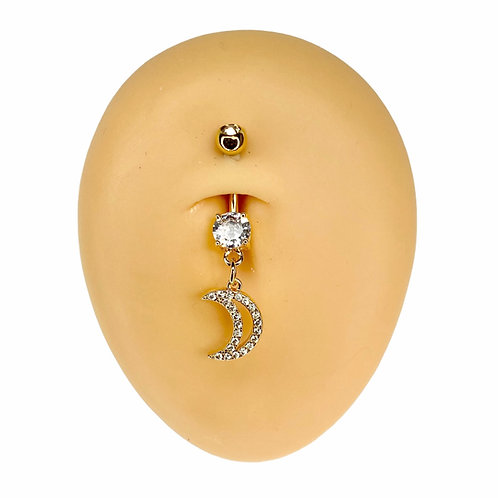 Gold CZ Paved Crescent Moon Dangle Belly Bar