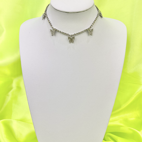 Silver Rhinestone Butterfly Bling Tennis Choker Necklace
