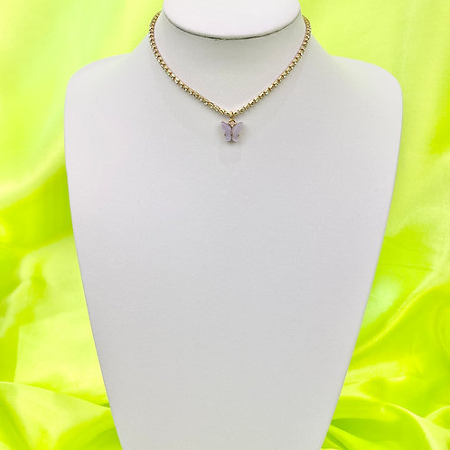 Lilac Rhinestone Butterfly Choker Necklace