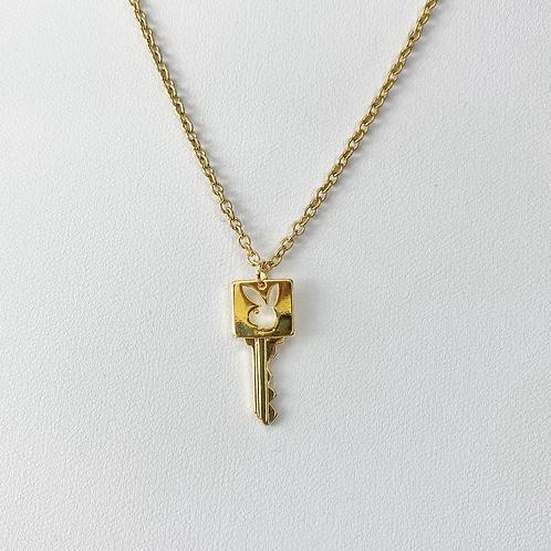 Gold Playboy Key Necklace
