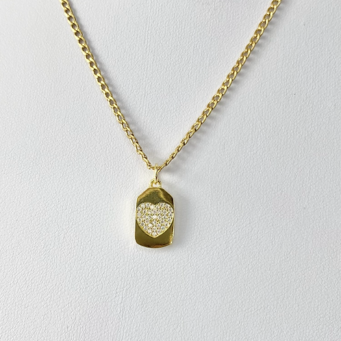 Gold CZ Heart Tag Necklace