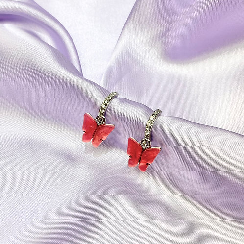 Pink Red Rhinestone Butterfly Hoop Earrings