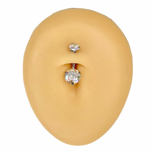 Silver AB Round CZ Prong Belly Bar