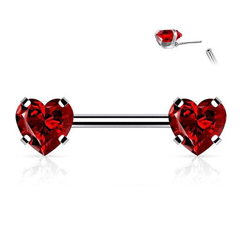 Red Cubic Zirconia Heart Nipple Bar