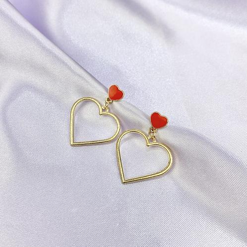 Red & Gold Heart Earrings
