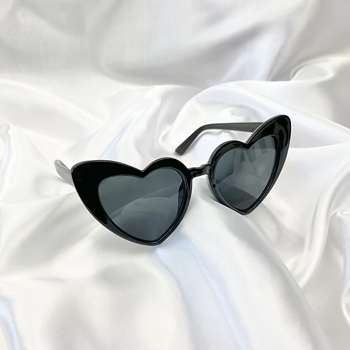 Black Statement Heart Sunglasses