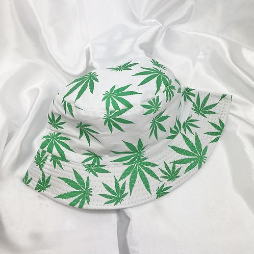 White & Green Weed Leaf Bucket Hat