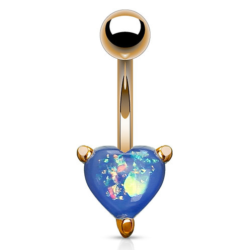 Blue Glitter Opal Heart Belly Bar