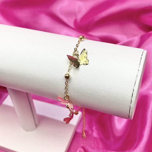 Gold Dainty Ball Dangly Butterfly Anklet