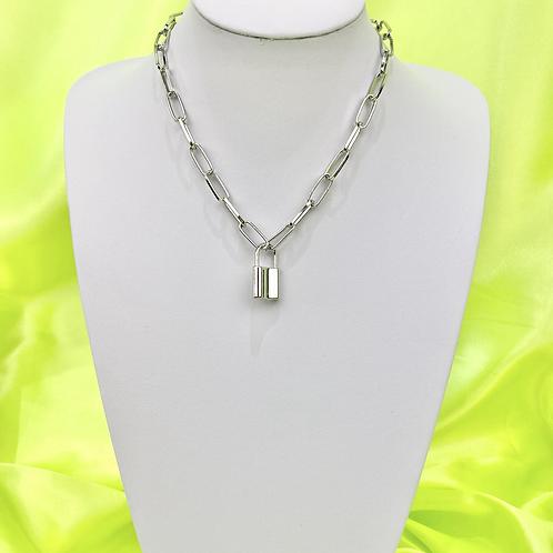 Silver Industrial Padlock Necklace