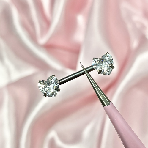 Clear Cubic Zirconia Heart Nipple Bar