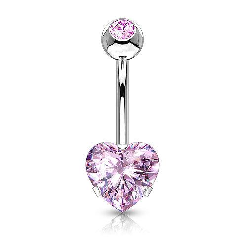 Pink Heart CZ Prong Belly Bar