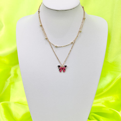 Pink Butterfly Print Layered Necklace