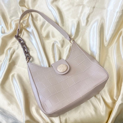 Beige Croc Front Shoulder Bag