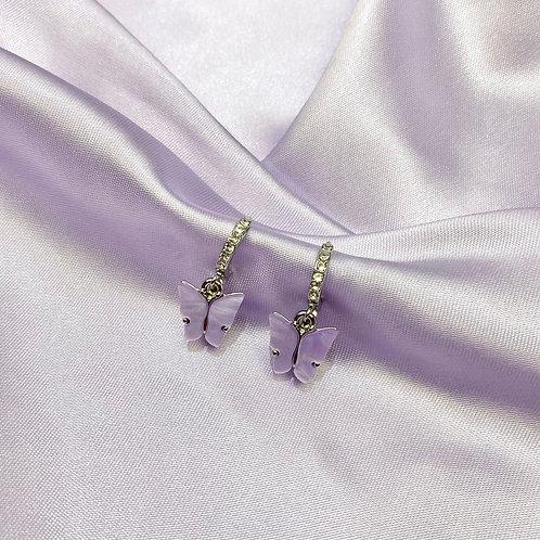 Lilac Rhinestone Butterfly Hoop Earrings