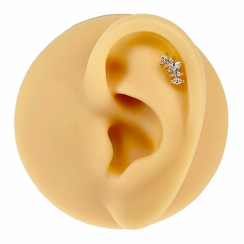 Gold Prong Set Marquise CZ Barbell Stud