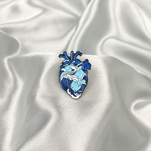 Wave Heart Pin Badge