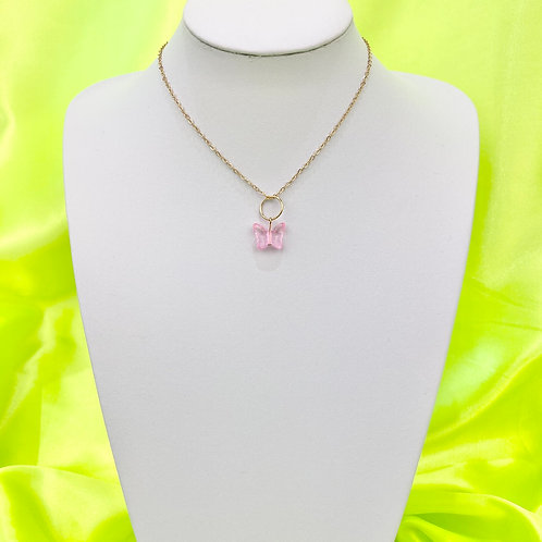 Light Pink Butterfly Bead Necklace