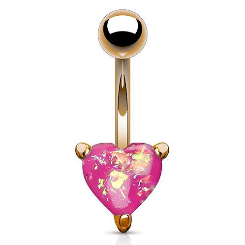 Pink Glitter Opal Heart Belly Bar