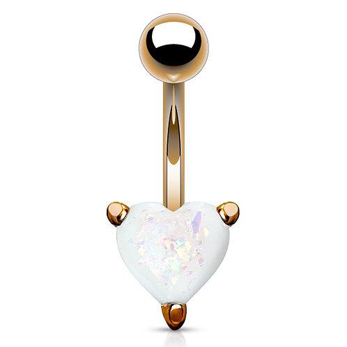 White Glitter Opal Heart Belly Bar