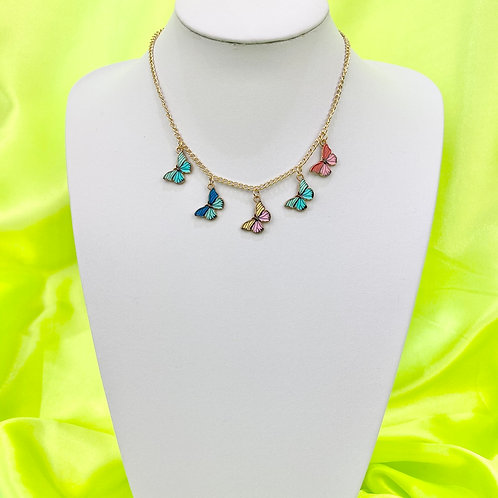 Gold Butterfly Print Necklace