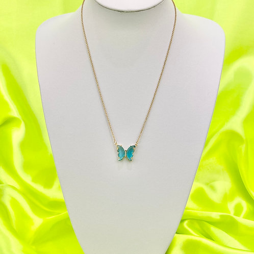 Blue Clear Rhinestone Butterfly Necklace