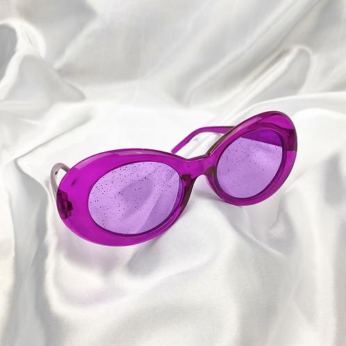 Purple Clear Glitter Clout Goggle Sunglasses