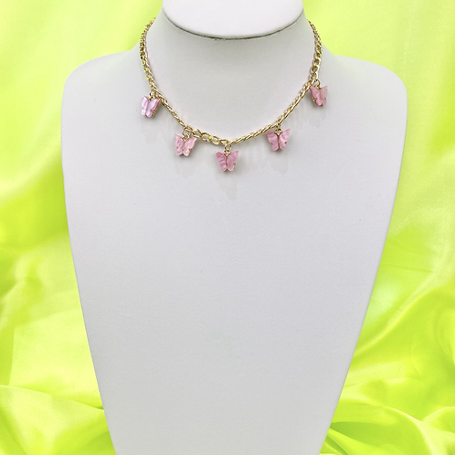 Pink Butterfly Chain Necklace