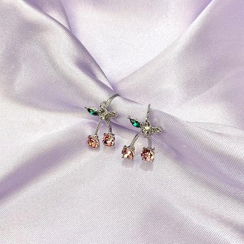 Pink Gemstone Cherry Hoop Earrings