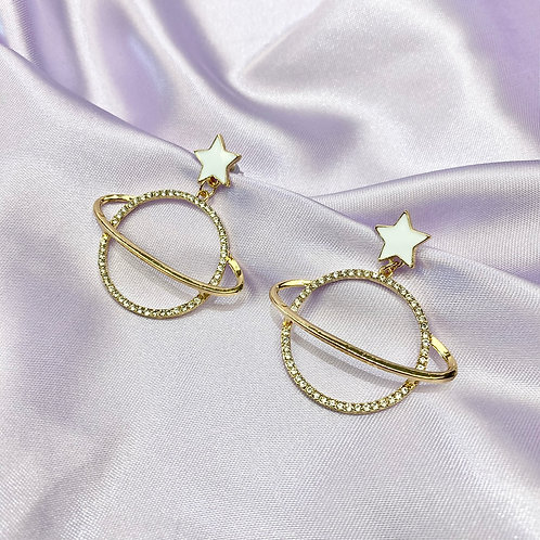 Gold & White Rhinestone Star Planet Earrings