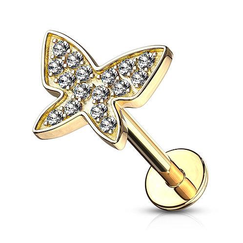 Gold CZ Paved Butterfly Stud