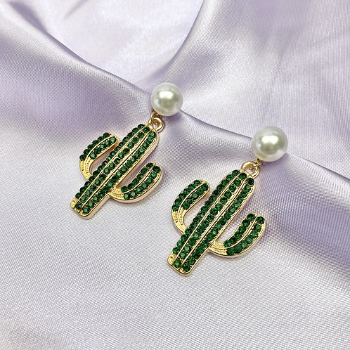Pearl Rhinestone Cactus Earrings