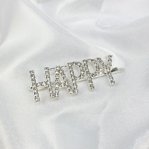 Rhinestone Happy Hair Slide