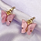Thumbnail: Pink Butterfly Hoop Earrings