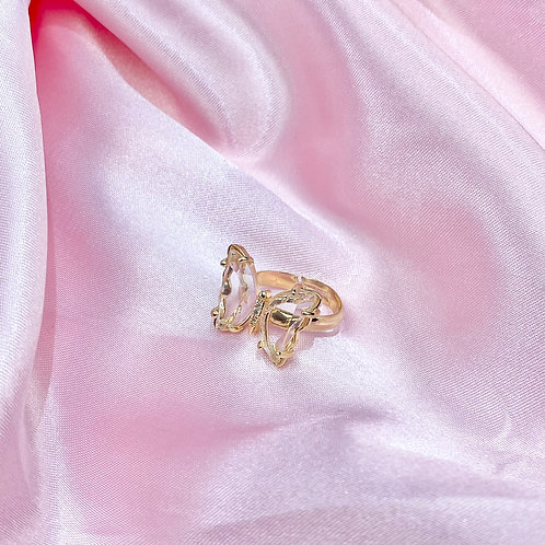 Clear Rhinestone Butterfly Ring