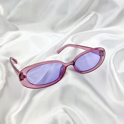 Purple Clear Oval Sunglasses