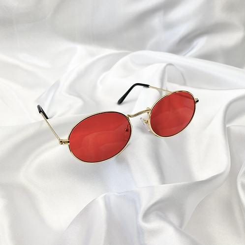 Red Wide Oval Sunglasses