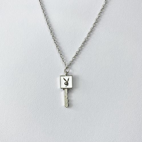 White Enamel Playboy Key Necklace