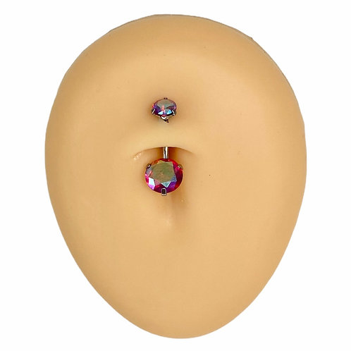 Silver Red AB Round CZ Prong Belly Bar