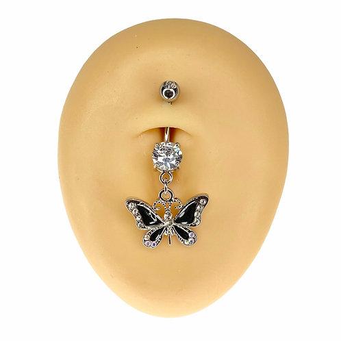 Black Crystal Y2K Butterfly Dangle Belly Bar
