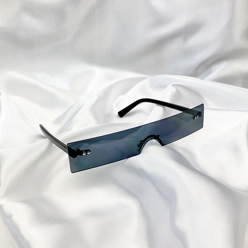Black Retro Frameless Rectangle Sunglasses