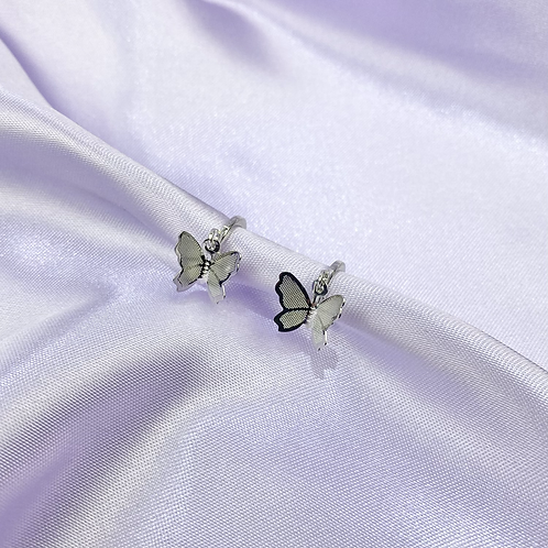Silver Butterfly Hoop Earrings