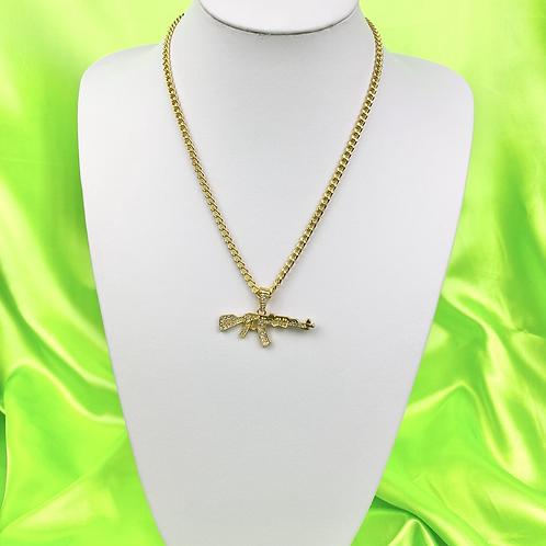 Gold Rhinestone Gun Necklace