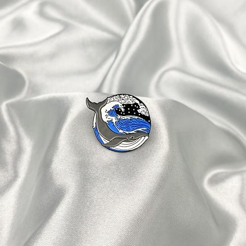 Circle Whale Pin Badge