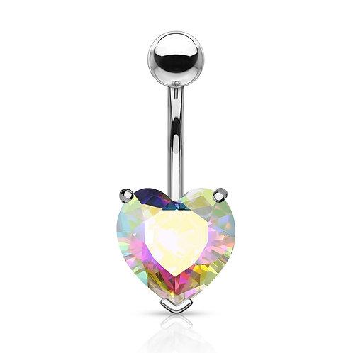 Aurora Borealis Heart Gem Belly Bar