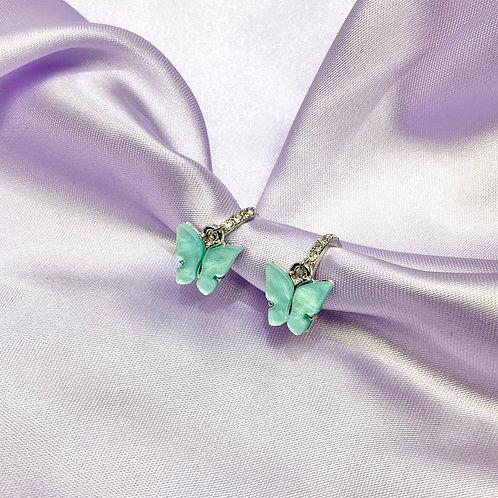 Teal Rhinestone Butterfly Hoop Earrings