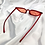 Thumbnail: Red Clear Slim Rectangle Cat Eye Sunglasses