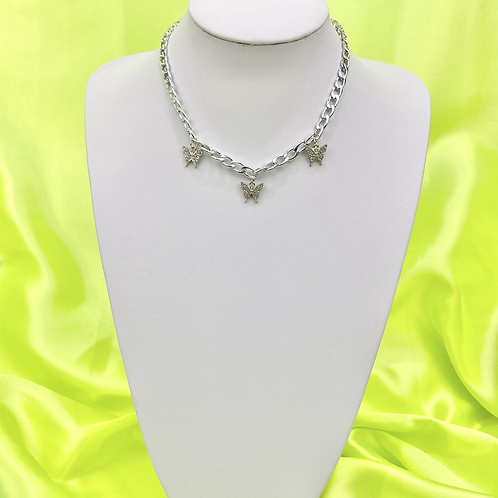 Rhinestone Butterfly Chunky Chain Necklace